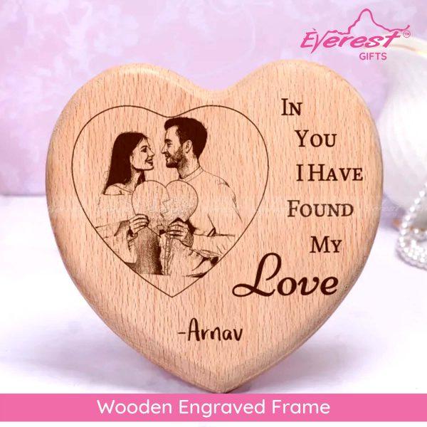 Wooden Engraved Heart Shape Frame